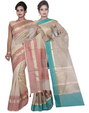 Buy Banarasi Silk Works Party Wear Designer Grey & Cream Colour Cotton Combo Saree For Women's(bsw32_33) online