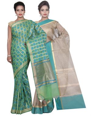 Buy Banarasi Silk Works Party Wear Designer Grey & Green Colour Cotton Combo Saree For Women's(bsw32_34) online