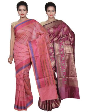 Buy Banarasi Silk Works Party Wear Designer Purple & Pink Colour Cotton Combo Saree For Women's(bsw42_43) online