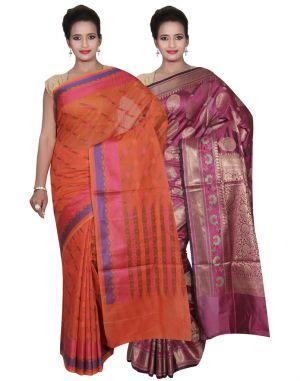 Buy Banarasi Silk Works Party Wear Designer Purple & Orange Colour Cotton Combo Saree For Women's(bsw42_44) online