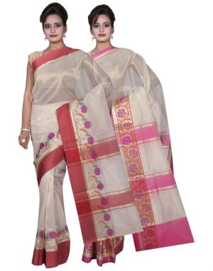 Buy Banarasi Silk Works Party Wear Designer Cream & Pink Colour Tissue Combo Saree For Women's(bsw13_14) online