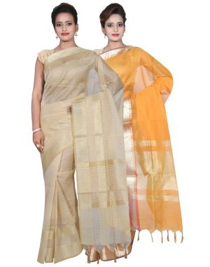 Buy Banarasi Silk Works Party Wear Designer Mustered & Cream Colour Cotton Combo Saree For Women's(bsw23_24) online