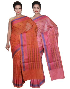Buy Banarasi Silk Works Party Wear Designer Pink & Orange Colour Cotton Combo Saree For Women's(bsw43_44) online
