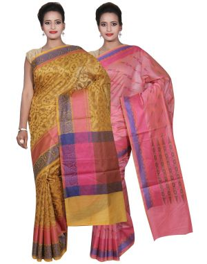 Buy Banarasi Silk Works Party Wear Designer Pink & Gold Colour Cotton Combo Saree For Women's(bsw43_45) online