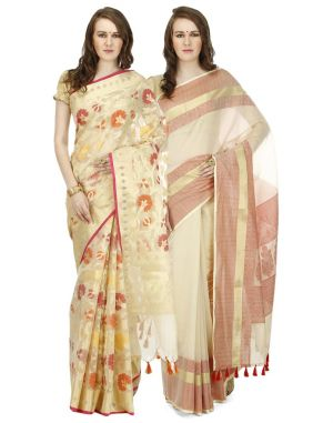 Buy Banarasi Silk Works Party Wear Designer Multi Colour Combo Saree For Women's(bsw1023_51) online