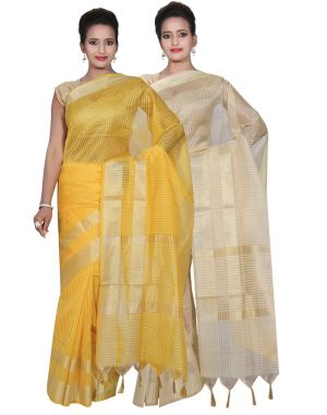 Buy Banarasi Silk Works Party Wear Designer Cream & Yellow Colour Super Net Cotton Combo Saree For Women's(bsw24_25) online