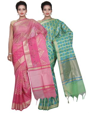 Buy Banarasi Silk Works Party Wear Designer Green & Pink Colour Cotton Combo Saree For Women's(bsw34_35) online