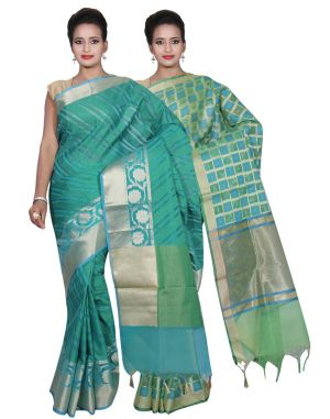 Buy Banarasi Silk Works Party Wear Designer Green & Green Colour Cotton Combo Saree For Women's(bsw34_36) online