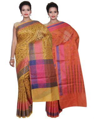 Buy Banarasi Silk Works Party Wear Designer Orange & Gold Colour Cotton Combo Saree For Women's(bsw44_45) online