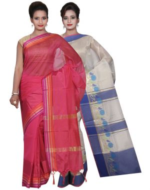 Buy Banarasi Silk Works Party Wear Designer Pink & Pink Colour Tissue Combo Saree For Women's(bsw15_16) online