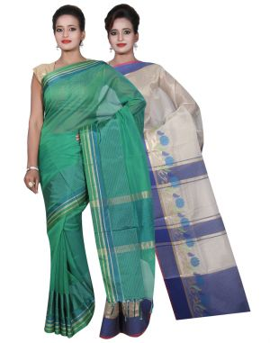 Buy Banarasi Silk Works Party Wear Designer Pink & Green Colour Tissue Combo Saree For Women's(bsw15_17) online