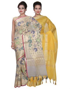 Buy Banarasi Silk Works Party Wear Designer Yellow & Cream Colour Super Net Cotton Combo Saree For Women's(bsw25_26) online