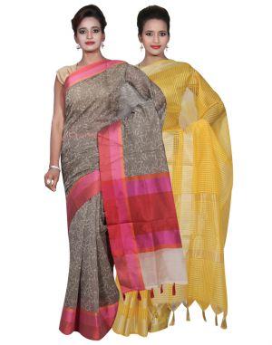 Buy Banarasi Silk Works Party Wear Designer Yellow & Grey Colour Super Net Cotton Combo Saree For Women's(bsw25_27) online
