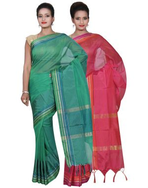 Buy Banarasi Silk Works Party Wear Designer Pink & Green Colour Cotton Combo Saree For Women's(bsw16_17) online
