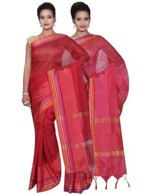 Buy Banarasi Silk Works Party Wear Designer Pink & Red Colour Cotton Combo Saree For Women's(bsw16_18) online