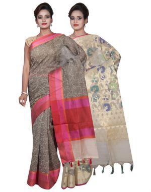 Buy Banarasi Silk Works Party Wear Designer Cream & Grey Colour Cotton Combo Saree For Women's(bsw26_27) online