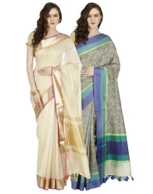 Buy Banarasi Silk Works Party Wear Designer Multi Colour Combo Saree For Women's(bsw1046_28) online