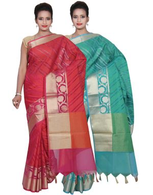 Buy Banarasi Silk Works Party Wear Designer Green & Pink Colour Cotton Combo Saree For Women's(bsw36_37) online