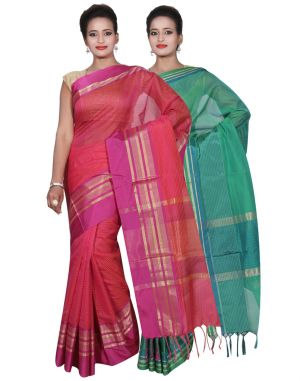 Buy Banarasi Silk Works Party Wear Designer Green & Pink Colour Cotton Combo Saree For Women's(bsw17_19) online