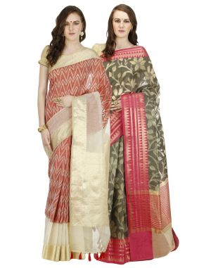 Buy Banarasi Silk Works Party Wear Designer Multi Colour Combo Saree For Women's(bsw1017_35) online