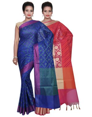 Buy Banarasi Silk Works Party Wear Designer Pink & Blue Colour Cotton Combo Saree For Women's(bsw37_38) online
