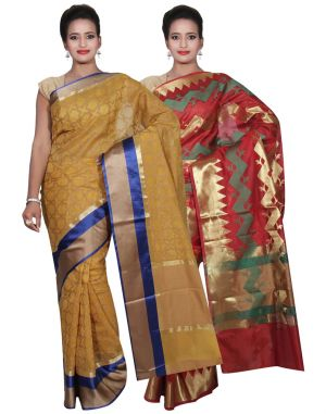 Buy Banarasi Silk Works Party Wear Designer Red & Yellow Colour Cotton Combo Saree For Women's(bsw47_49) online