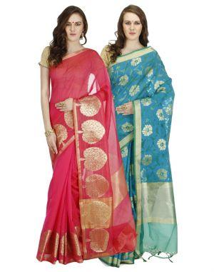 Buy Banarasi Silk Works Party Wear Designer Multi Colour Combo Saree For Women's(bsw1008_02) online