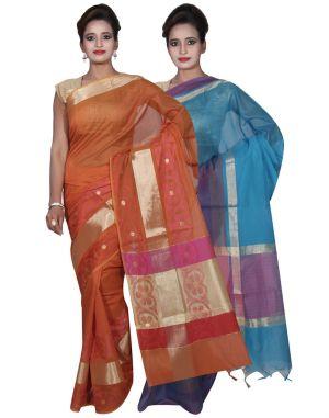 Buy Banarasi Silk Works Party Wear Designer Orange & Blue Colour Cotton Combo Saree For Women's(bsw8_10) online