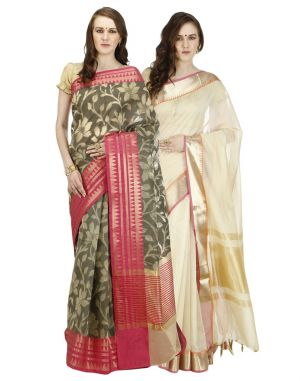 Buy Banarasi Silk Works Party Wear Designer Multi Colour Combo Saree For Women's(bsw1028_17) online