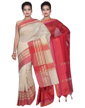 Buy Banarasi Silk Works Party Wear Designer Red & Cream Colour Cotton Combo Saree For Women's(bsw18_20) online