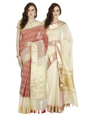 Buy Banarasi Silk Works Party Wear Designer Multi Colour Combo Saree For Women's(bsw1028_35) online