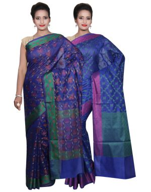 Buy Banarasi Silk Works Party Wear Designer Blue & Blue Colour Cotton Combo Saree For Women's(bsw38_39) online