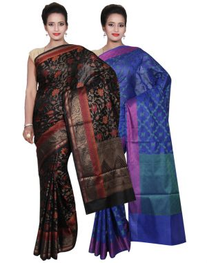 Buy Banarasi Silk Works Party Wear Designer Blue & Black Colour Cotton Combo Saree For Women's(bsw38_40) online