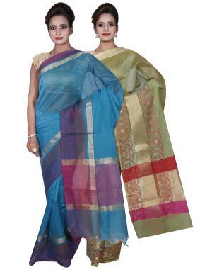 Buy Banarasi Silk Works Party Wear Designer Green & Blue Colour Cotton Combo Saree For Women's(bsw9_10) online