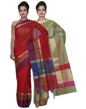 Buy Banarasi Silk Works Party Wear Designer Green & Red Colour Cotton Combo Saree For Women's(bsw9_11) online