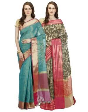 Buy Banarasi Silk Works Party Wear Designer Multi Colour Combo Saree For Women's(bsw1059_17) online