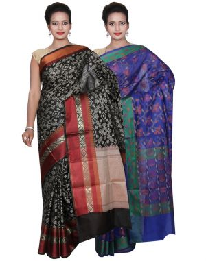 Buy Banarasi Silk Works Party Wear Designer Blue & Black Colour Cotton Combo Saree For Women's(bsw39_41) online