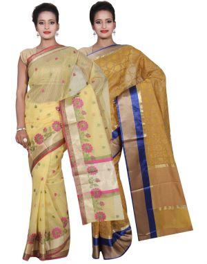 Buy Banarasi Silk Works Party Wear Designer Yellow & Yellow Colour Super Net Combo Saree For Women's(bsw49_51) online
