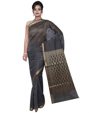 Buy Banarasi Silk Works Party Wear Designer Grey Colour Cotton Saree For Women's(bsw1) online