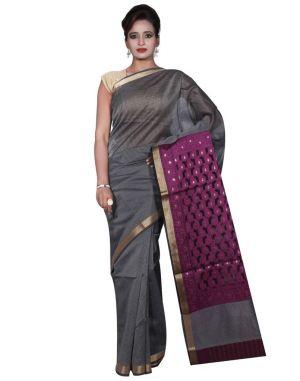Buy Banarasi Silk Works Party Wear Designer Grey Colour Cotton Saree For Women's(bsw2) online