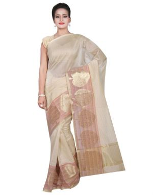 Buy Banarasi Silk Works Party Wear Designer Cream Colour Cotton Saree For Women's(bsw3) online