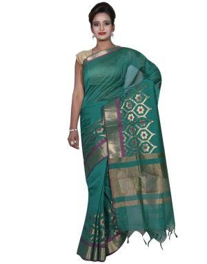 Buy Banarasi Silk Works Party Wear Designer Green Colour Cotton Saree For Women's(bsw6) online