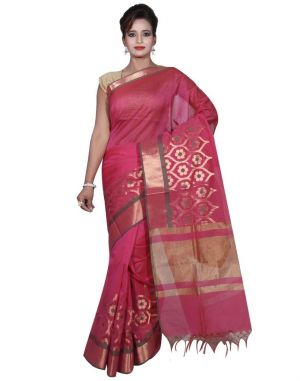 Buy Banarasi Silk Works Party Wear Designer Pink Colour Cotton Saree For Women's(bsw7) online