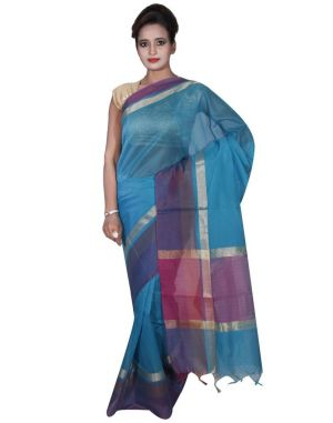 Buy Banarasi Silk Works Party Wear Designer Blue Colour Cotton Saree For Women's(bsw10) online