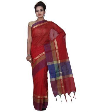 Buy Banarasi Silk Works Party Wear Designer Red Colour Cotton Saree For Women's(bsw11) online
