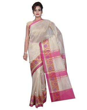 Buy Banarasi Silk Works Party Wear Designer Cream Colour Tissue Saree For Women's(bsw13) online