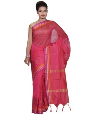Buy Banarasi Silk Works Party Wear Designer Pink Colour Cotton Saree For Women's(bsw16) online