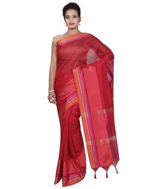 Buy Banarasi Silk Works Party Wear Designer Red Colour Cotton Saree For Women's(bsw18) online