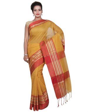 Buy Banarasi Silk Works Party Wear Designer Gold Colour Cotton Saree For Women's(bsw21) online