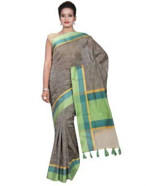 Buy Banarasi Silk Works Party Wear Designer Grey Colour Cotton Saree For Women's(bsw28) online